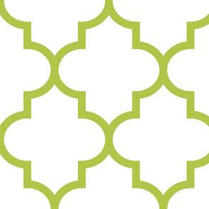 quatrefoil XL lime green on white
