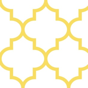 quatrefoil XL butter yellow on white