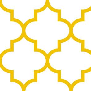 quatrefoil XL mustard yellow on white