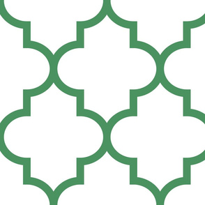 quatrefoil XL kelly green on white
