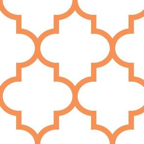 quatrefoil XL tangerine on white