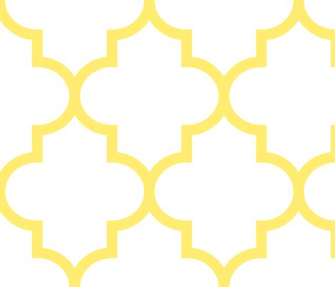 quatrefoil XL lemon yellow on white fabric by misstiina on Spoonflower - custom fabric