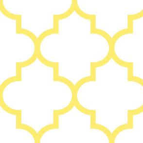 quatrefoil XL lemon yellow on white