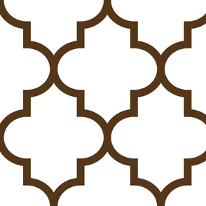 quatrefoil XL brown on white