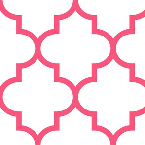 quatrefoil XL hot pink on white