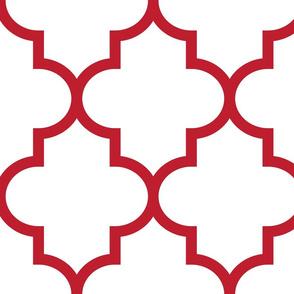 quatrefoil XL red on white