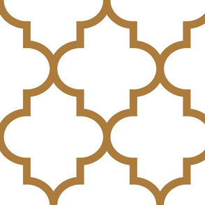 quatrefoil XL caramel on white