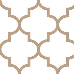 quatrefoil XL tan on white