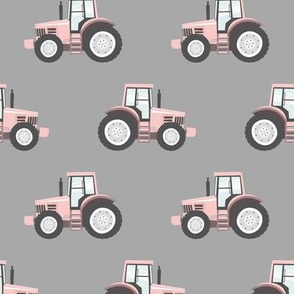 light pink tractors on grey - farm fabric  C18BS