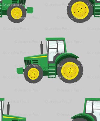 green tractors on grey - farm fabric C18BS