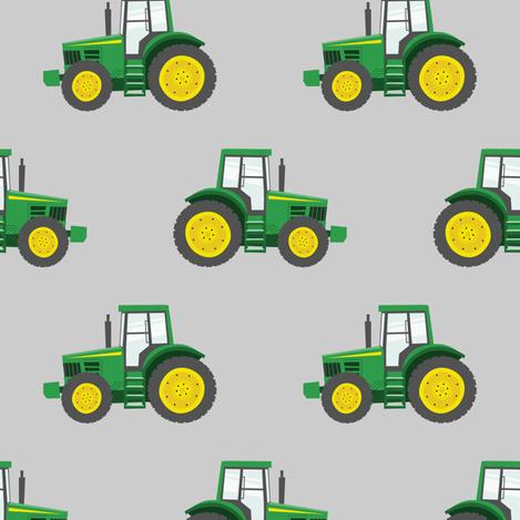 green tractors on grey - farm fabric C18BS fabric by littlearrowdesign on Spoonflower - custom fabric