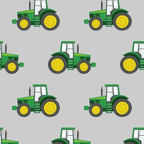 green tractors on grey - farm fabric C18BS