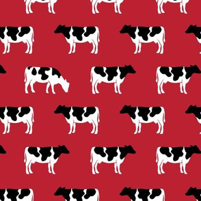 cows on red - farm fabric C18BS