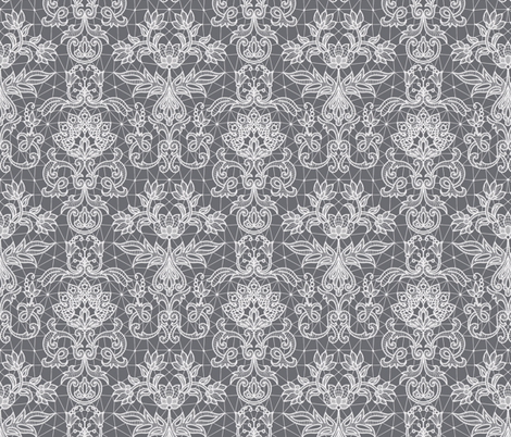 white lace on gray fabric by svetlana_prikhnenko on Spoonflower - custom fabric