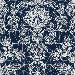 white lace on dark blue