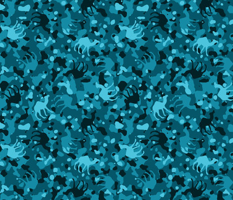 Teal Camelflage fabric by binge_crafter on Spoonflower - custom fabric