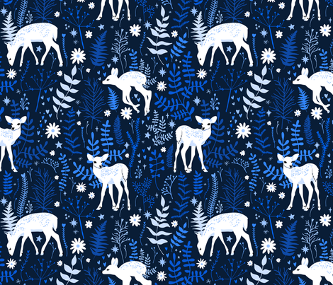 Woodland Deer - Navy fabric by elysesanderson on Spoonflower - custom fabric