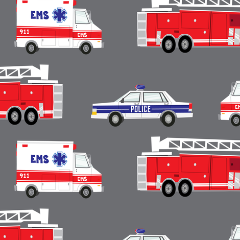 (large scale) first responders vehicles modified (grey) C18BS fabric by littlearrowdesign on Spoonflower - custom fabric