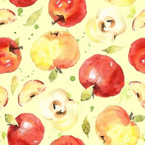 Watercolor apples red & yellow kitchen fruits with stains on light yellow background
