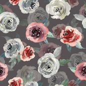 Watercolor grey pink roses on dark background