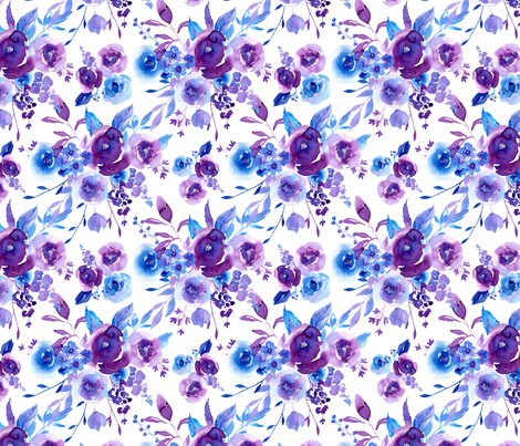Watercolor violet roses flowers on white background fabric by graphicsdish on Spoonflower - custom fabric