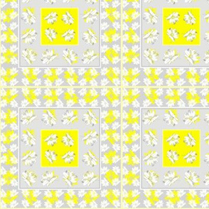grey and yellow daisy squares