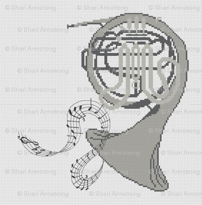 Silver French Horn in Cross Stitch