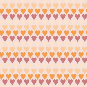 Hearts in Orange and Red and Cream