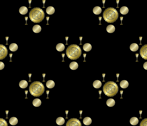Passover, Gold on Black fabric by anneostroff on Spoonflower - custom fabric