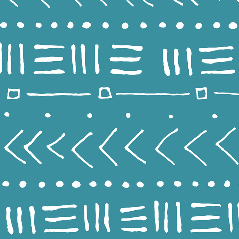 Tribal Bands on Teal // Large fabric by thinlinetextiles on Spoonflower - custom fabric