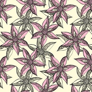 Love Blooms at Dawn (# 11) - Lolly Pink on Magnolia Cream with Black - Medium Scale