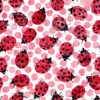 Ladybugs on pink dots