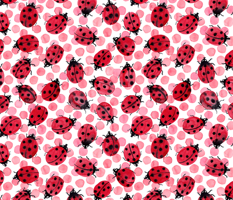 Ladybugs on pink dots fabric by rebecca_reck_art on Spoonflower - custom fabric