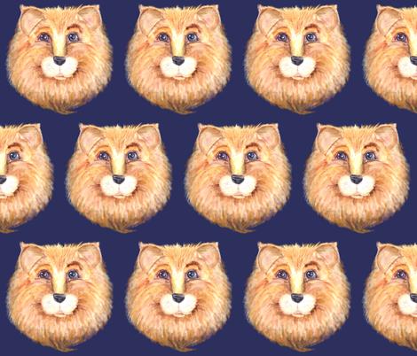 THE BLUE EYED CUTE FELINE LION CAT INDIGO fabric by paysmage on Spoonflower - custom fabric