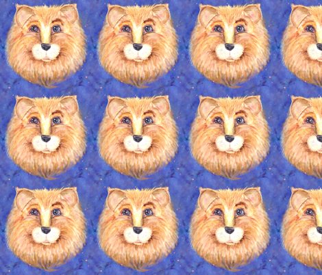 THE BLUE EYED CUTE FELINE LION CAT STARRY SKY fabric by paysmage on Spoonflower - custom fabric