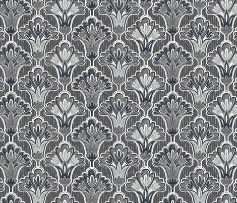 Folk Floral - Monochrome fabric by samalah on Spoonflower - custom fabric