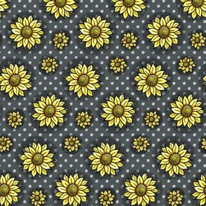 Cheery Sunflowers - Charcoal / Yellow