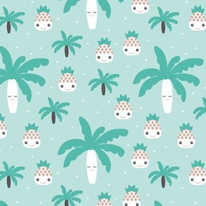 Cute summer spring kawaii tropical island palm trees and pineapples kids design gender neutral mint blue
