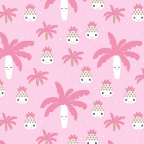 Cute summer spring kawaii tropical island palm trees and pineapples kids design pastel pink
