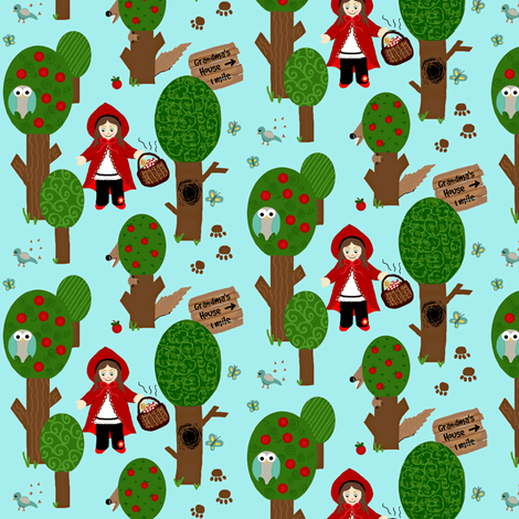 Grandma's house (little Red)on blue fabric by franbail on Spoonflower - custom fabric