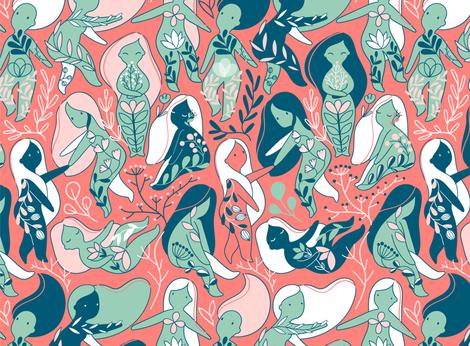 Cute floral woman design. Sisterhood around the World. fabric by kostolom3000 on Spoonflower - custom fabric