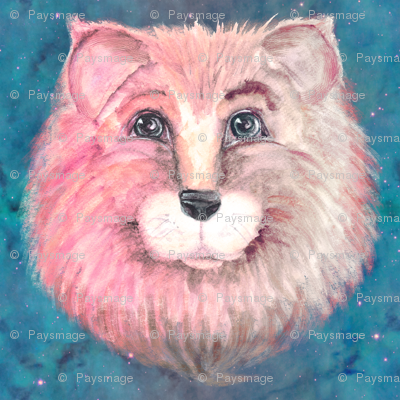 THE PINK FELINE LION CAT ON TEAL TURQUOISE BLUE STARRY SKY