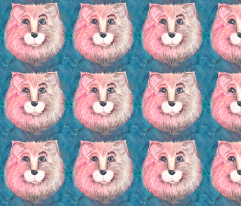 THE PINK FELINE LION CAT ON TEAL TURQUOISE BLUE STARRY SKY fabric by paysmage on Spoonflower - custom fabric