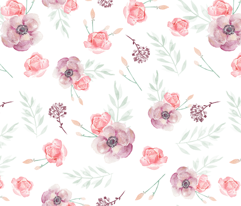Spring Flower Watercolor Fabric Romantic Spring Pink Violet