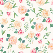 Botanical Spring Flowers/ Watercolor Floral/ Pink and Green Flowers