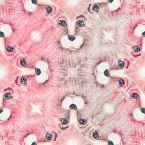 THE BLUE EYED CUTE PINK FELINE LION CAT KALEIDOSCOPE FACE CHAOS MARBLED BEIGE TAUPE PINK