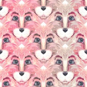 THE BLUE EYED CUTE PINK FELINE LION CAT TRIANGLE FACE 2 CHAOS MARBLED BEIGE TAUPE PINK