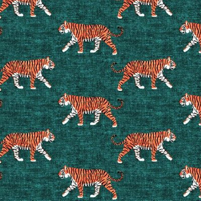walking tigers on green (woven)