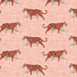 walking tiger on salmon peach (woven)