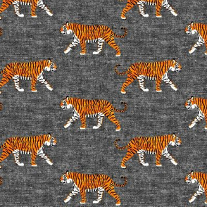 walking tiger on dark grey (woven)